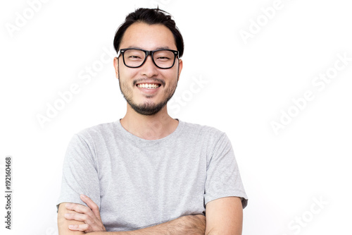 Fototapeta  Closeup portrait of happy asian man face, isolated on white background with copy space