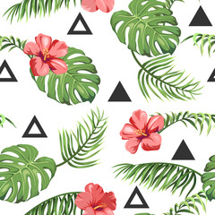 Fototapetaseamless pattern with tropical palm leaves, exotic flowers and triangles