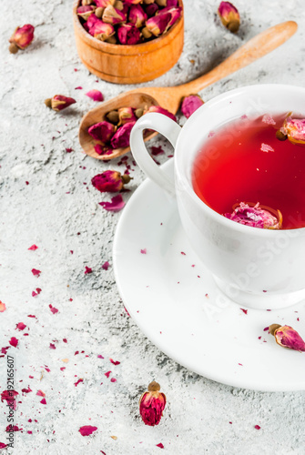 Obraz na plátne Arab, middle eastern food. Herbal tea with rose buds, copy space