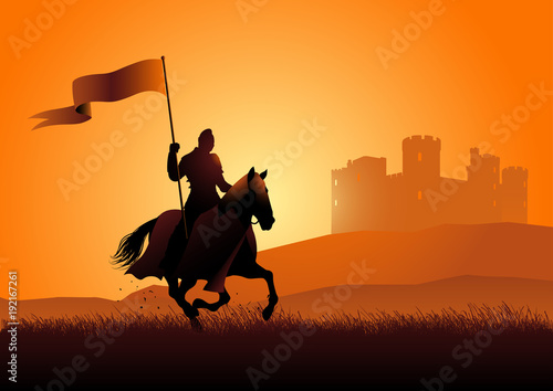 Fotografiet Medieval knight on horse carrying a flag