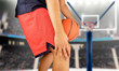 basketball player with injured knee
