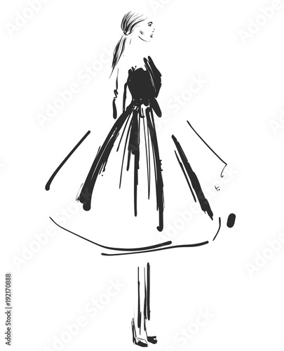 Beautiful young girl in the dress. Fashion model sketch drawing.