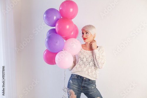 Blonde Girl With Gifts And Balloons For The Birthday