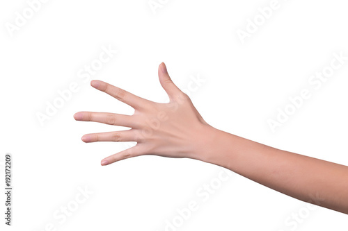 Valokuva  Woman hand showing five count isolated on white background