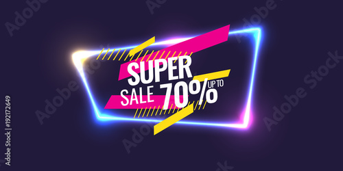Obraz Best sale banner. Original poster for discount. Geometric shapes and neon glow against a dark background. - fototapety do salonu