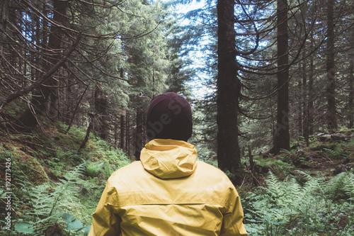 Fototapeta Man in yellow jaket in wild forest