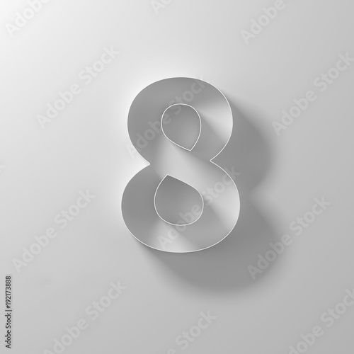8, eight, white paper number Wall mural