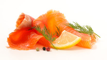 Smoked Salmon Isolated On Whit...