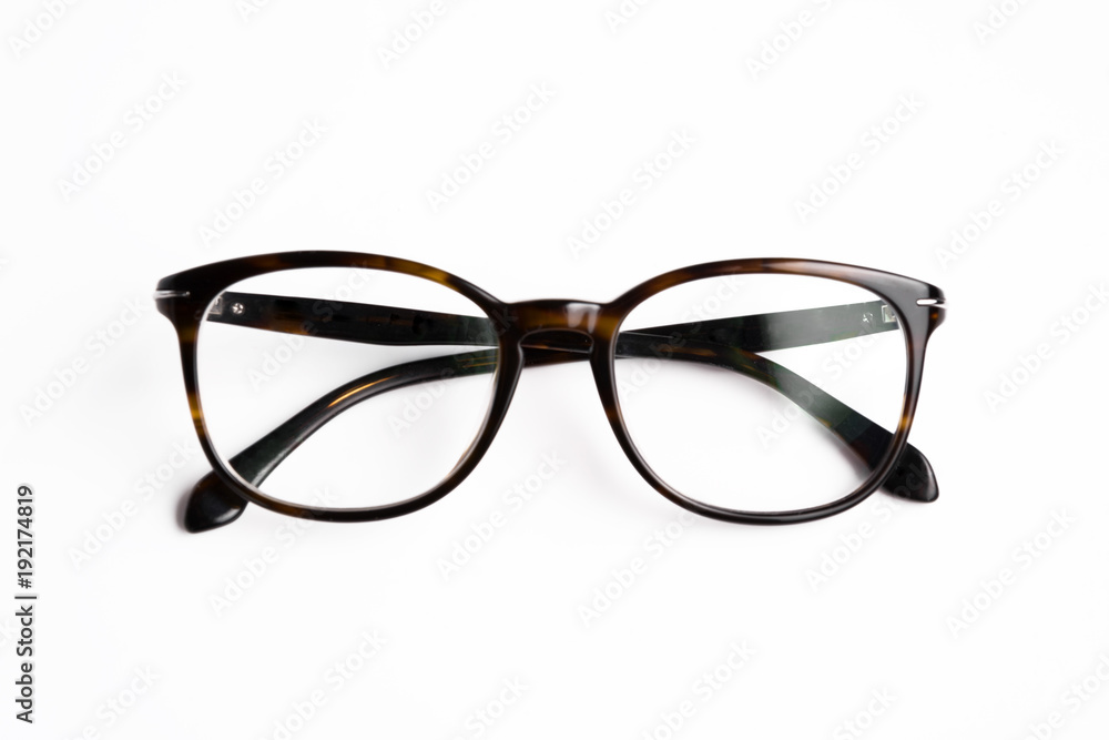 Fototapety, obrazy: vintage glasses top view isolated on white background