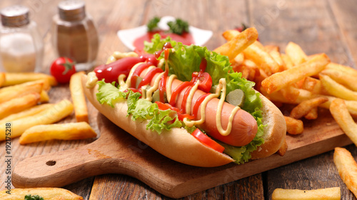 Fotografia hot dog and french fries