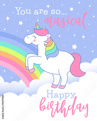 Cute Unicorn Standing On The Cloud Illustration For Birthday Card Design