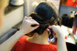 Photo from back of brunette and stylist doing hairstyle