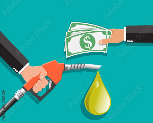 Ing Petrol Fuel Pump In Hand Man Exchange For Money Payment Vector Ilration
