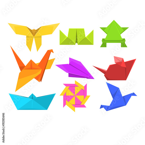 Keuken foto achterwand Geometrische dieren Animals origami set, geometric paper animals and birds vector Illustrations