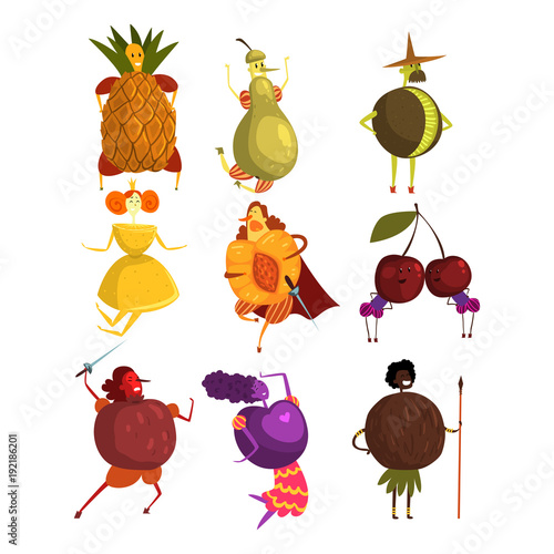 Fotobehang Indiërs Funny fruits cartoon characters set, people in fruit costumes vector Illustrations