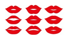 Beautiful Red Lips Icons Colle...