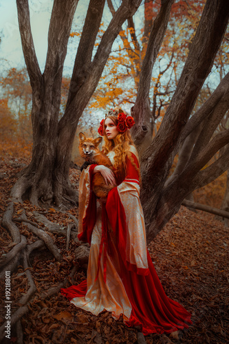 Fotografia, Obraz Woman in medieval clothes with a fox