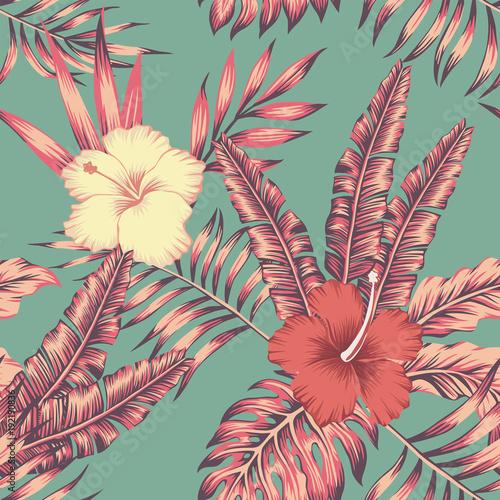 hibiskus-pozostawia-rocznika-kolor-tropikalny-wzor