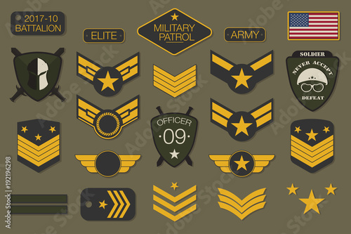 Fotografía  Military badges and army patches typography