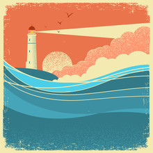 Sea Waves With Lighthouse.Vint...
