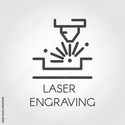 Fototapeta Machine for laser engraving line icon. Special equipment for cutting on hard materials. Automation and precision system. Graphic contour simplicity pictogram. Vector illustration obraz