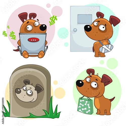Obraz na plátně The eleventh collection of icons for design dogs, a character with a package of purchases, with a computer running, with a sick paw with a doctor, a monument in the cemetery
