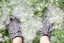 Male Feet On Grass Covered Wit...