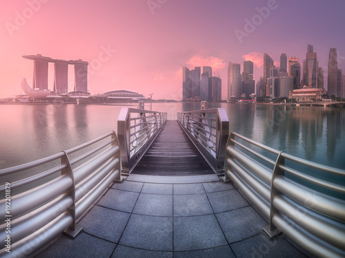 Downtown district and Marina bay in Singapore Poster
