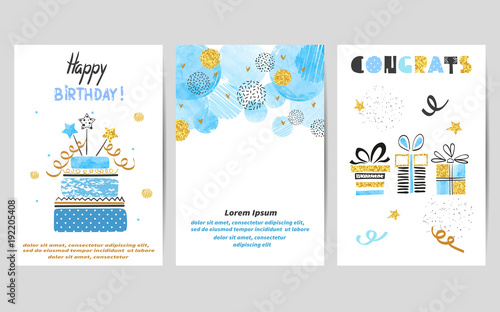 Fotografia  Happy Birthday cards set in blue and golden colors