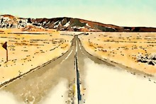 Watercolor Of A Road In A Desert