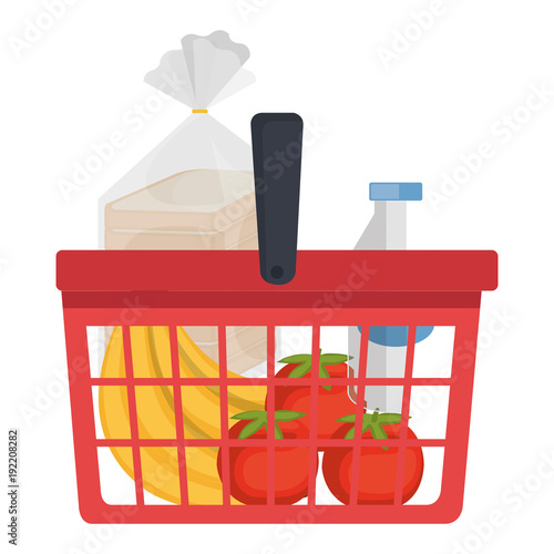 Keuken foto achterwand shopping basket with products vector illustration design