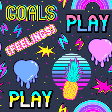 """Colorful Seamless Pattern With Patches, Stickers, Badges, Pins With Pineapples, Hearts, And Other Elements, Words """"goals"""", """"feelings"""", """"play"""", Etc. Dark Background."""