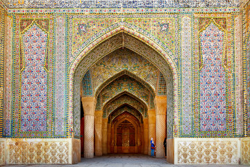 Iran, Shiraz, Persia - September 17, 2016: Entrance to the Vakil Mosque in Sh...