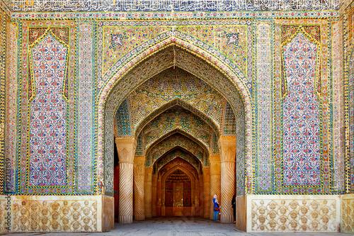 Iran, Shiraz, Persia - September 17, 2016: Entrance to the Vakil Mosque in Sh...