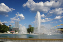 Pittsburgh Fountain And Skyline