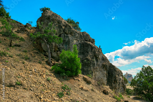 Foto op Aluminium Blauw Beautiful summer sea landscape in the mountains at the resort in the Crimea