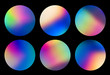 canvas print picture - Spectrum abstract vaporwave holographic circular designs, trendy colorful background in pastel neon color. For creative design cover, CD, poster, book, printing, gift card, fashion web and print
