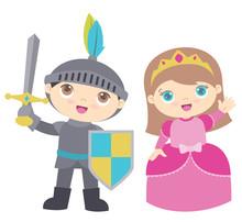Cute Little Boy Knight And Gir...