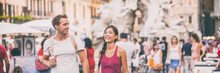 Rome Travel Young Couple Tourists Walking In City Streets On Navona Square Sightseeing In Italy. Asian Woman Talking With Caucasian Man Happy, Students Lifestyle. Banner Panorama Landscape Background.
