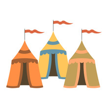 Cartoon Medieval Tents On Whit...