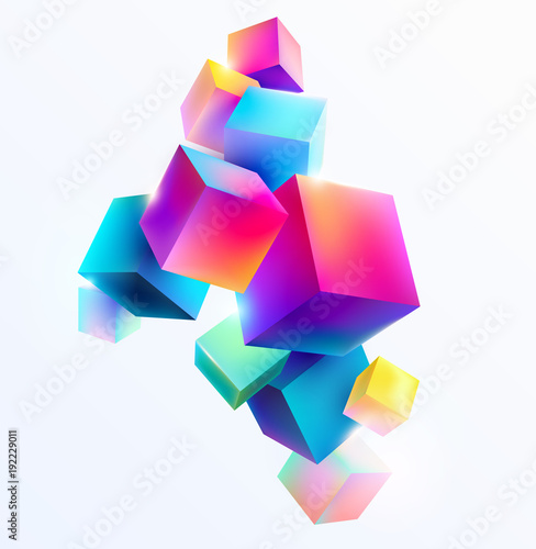 Fotografia Abstract colorful composition with 3d cubes
