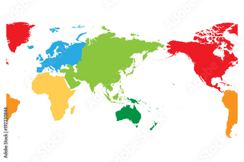 World map divided into six continents asia and australia centered world map divided into six continents asia and australia centered each continent in different gumiabroncs Gallery