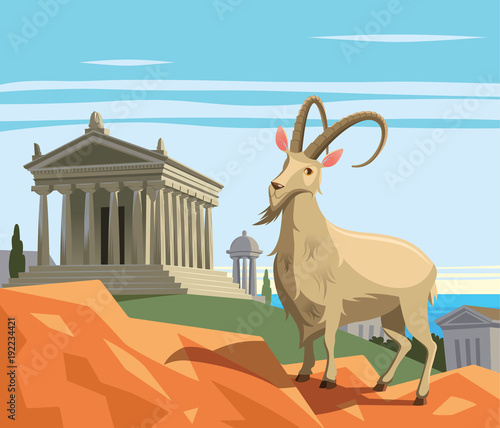 Wild goat in ancient Greek polis Fototapete