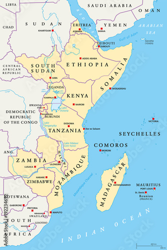 East Africa region, political map. Area with capitals ...