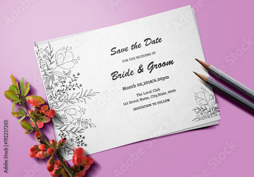 floral line art save the date card layout 1 buy this stock template
