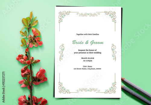 gold and teal filigree wedding invitation layout 1 buy this stock