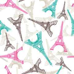 Panel Szklany Podświetlane Do pokoju dziewczyny Eiffel Tower seamless pattern. French vector background. Vintage fabric texture in pastel colors