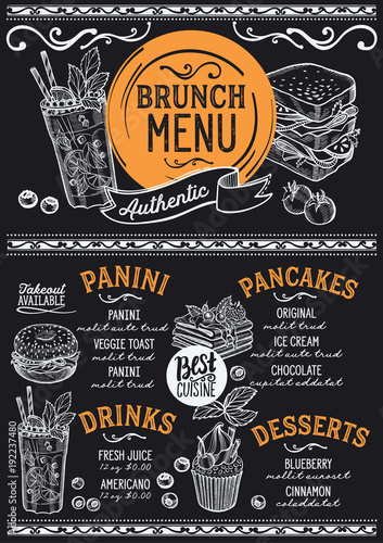 Fotografie, Obraz  Brunch restaurant menu