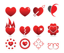 Collection Of Love Heart Symbo...