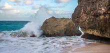 Waves Crashing Over Rocks At T...